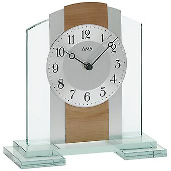 Table clock quartz, mineral glass case with core beech / aluminum pad