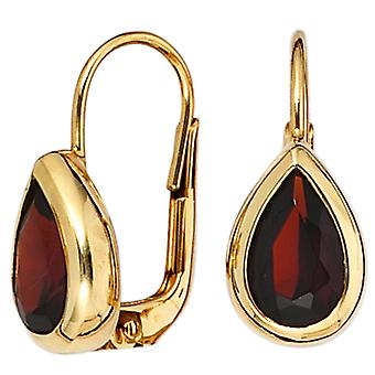 Boutons 375 Gold Yellow Gold 2 grenade red earrings red drop earrings
