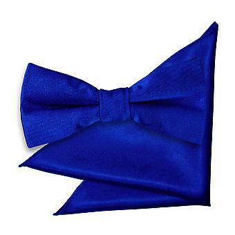 Royal Blue Plain Satin Krawatte und Einstecktuch für jungen eingestellt