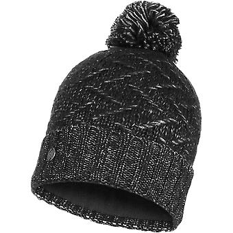 Buff Ebba Knitted Bobble Hat in Black