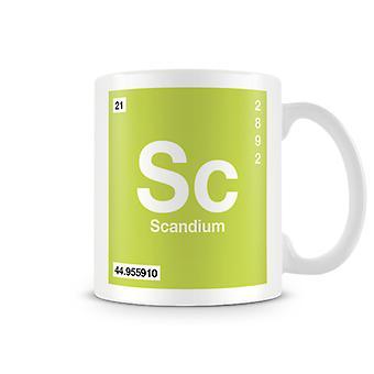 Scientific Printed Mug Featuring Element Symbol 021 Sc - Scandium