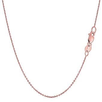 14k Rose Gold Cable Link Chain Necklace, 0.8mm
