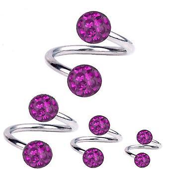Torsione a spirale Piercing titanio 1,6 mm, Multi sfera di cristallo viola | 8 - 12 mm