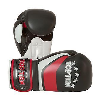 Top dez listra luvas de boxe preto/vermelho
