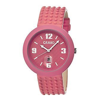 Crayo Jazz Leather-Band Unisex Watch w/ Date - Pink