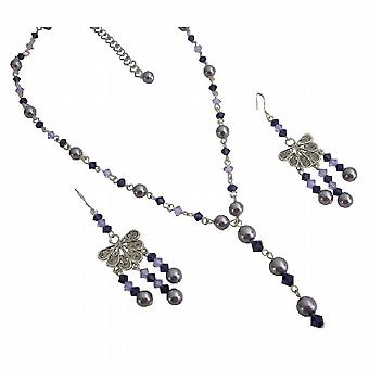 Swarovski Light purple Pearls w/ violet purple Crystals Y Necklace Set