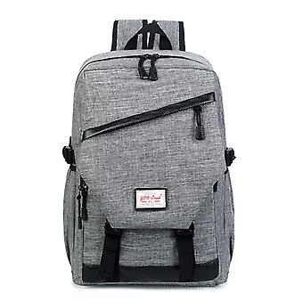 Spacious backpack with faux leather details-grey