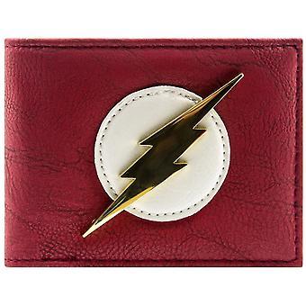 دي سي كوميكس فلاش معرف شارة ذهبية لامعة & بطاقة تجليد المحفظة