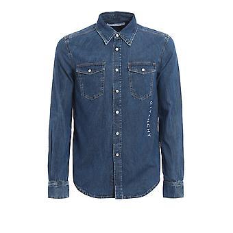 Givenchy Bm60a2508r420 Chemise en coton bleu clair