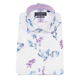 Guia de Londres manga curta camisa Floral impressão masculina branca
