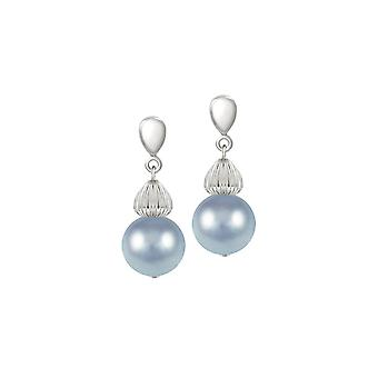 Eternal Collection Solitaire Powder Blue Pearl Silver Tone Drop Clip On Earrings