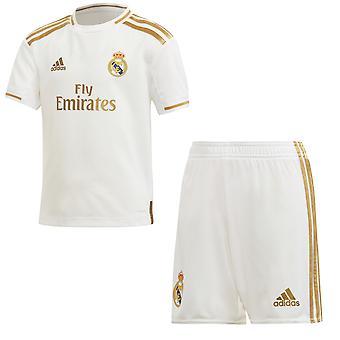 Adidas Real Madrid 2019/20 Junior Kids Football Home Mini Kit wit/goud