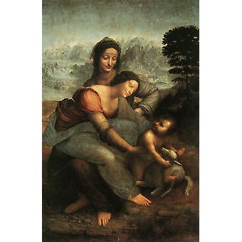 Die Jungfrau und der Nino mit Heiliger Ana, LEONARDO da Vinci, 60x40cm