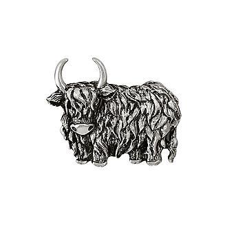 Eeuwige collectie Highland Cow zilveren Toon broche