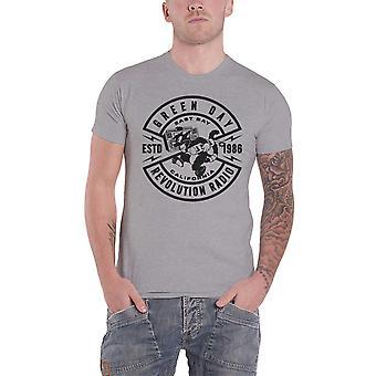 Groene dag T Shirt revolutie Radio Crest bandlogo nieuwe officiële Mens Grey