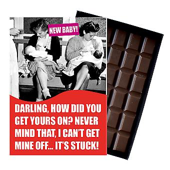 Funny New Baby Birth Gift For Newborn Mum Boxed Chocolate Greeting Card Present CDL136