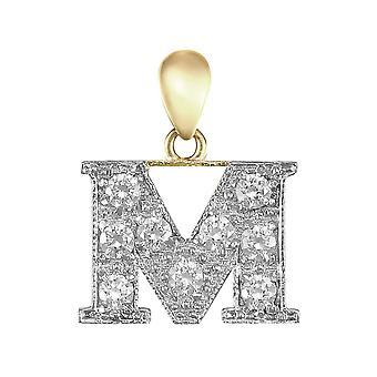 Jewelco London Solid 9ct Yellow and White Gold White Round Brilliant Cubic Zirconia Pave Identity Initial Charm Pendant Letter M