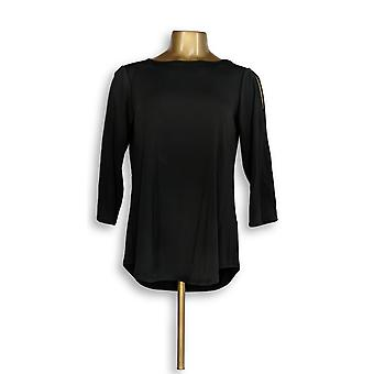 Joan Rivers Classics Collection Womens Top Cold Shoulder Black A299415 PTC