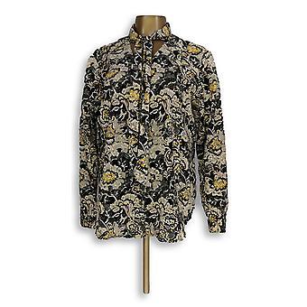 C. wonder vrouwen ' s top stropdas nek floral print knop front zwart A280090