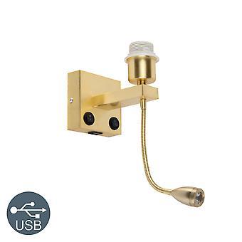 QAZQA Art Deco Wandleuchte Gold mit USB und Flexarm - Brescia Combi