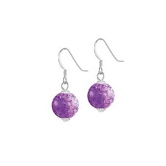 Eternal Collection Carnival Purple Czech Glass Crackle Bead Silver Tone Drop Pierced Earrings