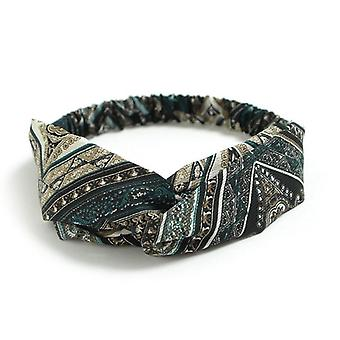 Elastisk mønstret hårbånd/pannebånd med knute