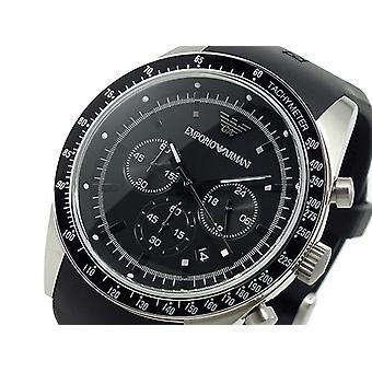 Emproio Armani Ar5985 Mens Black Chronograph Silcone Strap Watch