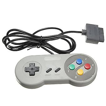 Compatible wired controller for super nintendo snes original console retro gamepad - grey
