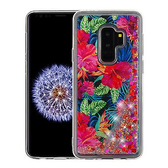 Electric Hibiscus & Magenta Hearts Quicksand Glitter Hybrid Case for Galaxy S9 Plus