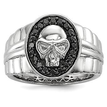 925 Sterling Gümüş Cilalı Prong seti Hediye Kutulu Rodyum kaplama Siyah Elmas Oval Kafatası Erkek Yüzük Takı Hediyeler Benim için