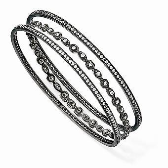 Black plated 925 Sterling Silver Black rhodium CZ Cubic Zirconia Simulated Diamond Three Cuff Stackable Bangle Bracelet