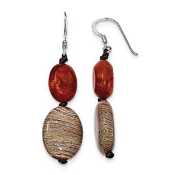 925 Sterling Silver Shepherd koukku punainen simuloitu kivi ja punainen Zebra Jasper korva korut-mitat 50x16mm