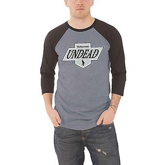 Hollywood Untote Baseball T Shirt LA Wappen neue offizielle Herren grau 3/4 Ärmel
