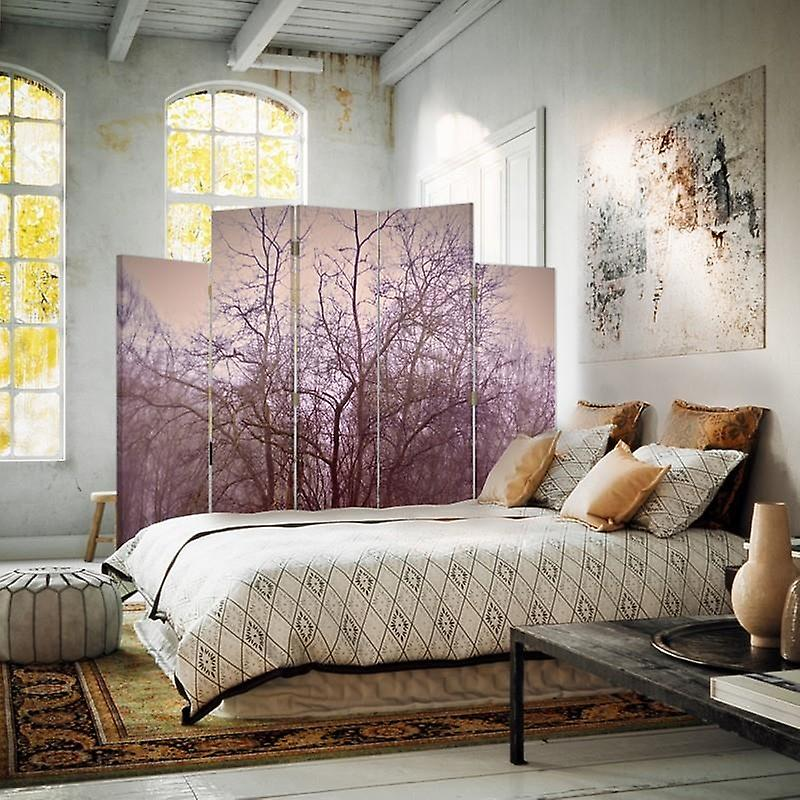 Diviseur de salle décorative, 5 panneaux, toile, arbres de novembre dans le brouillard 2