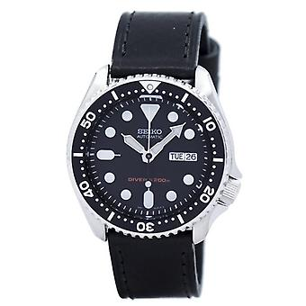 Seiko Automatic Diver-apos;s 200m Ratio Cuir Noir Skx007k1-ls8 Men-apos;s Watch