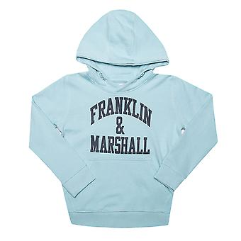 Infant Boys Franklin And Marshall F And M Hoody In Blue- - Ribbed Cuffs And Hem-