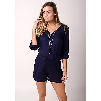 Orchid ladies playsuit with long sleeves - blue