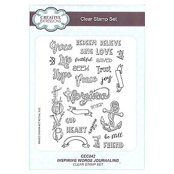 Creative Expressions Inspiring Religious Words Journaling Clear Stamp Set