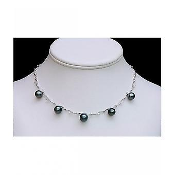 Luna parels diamanten halsketting met Tahiti parels HKS140