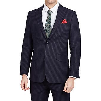 Dobell Mens Navy 2 Piece Suit Tailored Fit Notch Lapel Chalk Stripe
