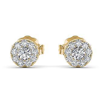 Igi gecertificeerd natuurlijke 10k geel goud 0.33 ct diamant stud oorbellen pushbacks