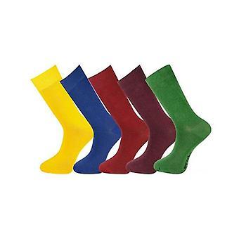 5 Pairs Mens Socks Plain With Gift Box Multicolour