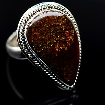 Ammolite Ring Size 7.25 (925 Sterling Silver)  - Handmade Boho Vintage Jewelry RING987000