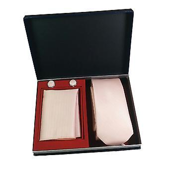 Tie, Cufflink & Hankerchief Set Exlusive Milan Collection 100% Hand Made Pink Stripes