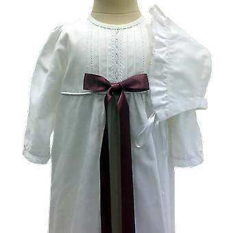 Cotton Baptised Dress With Bonnet, Purple-Pink Bow - Grace Of Sweden