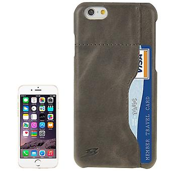 For iPhone 6S PLUS,6 PLUS Fashion Gray Genuine Cow Leather Case Card Slot