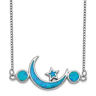 1.11mm 925 Sterling Silver Rhodium plated Simulated Opal Celestial Moon and Star Necklace 19 Inch Jewelry Gifts for Wome