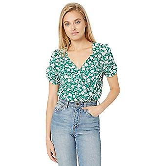ASTR the label Women's Short Sleeve Surplice Wrap Bodysuit, Green, Size Medium