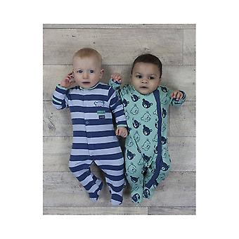 The Essential One Baby Boys Bearly Awake Stripe Sleepsuits - 2 Pack