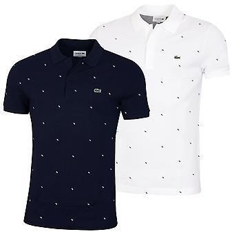 Lacoste Herren PH5134 gerippte Baumwolle 2 Knopf bestickt Krokodil Polo Shirt